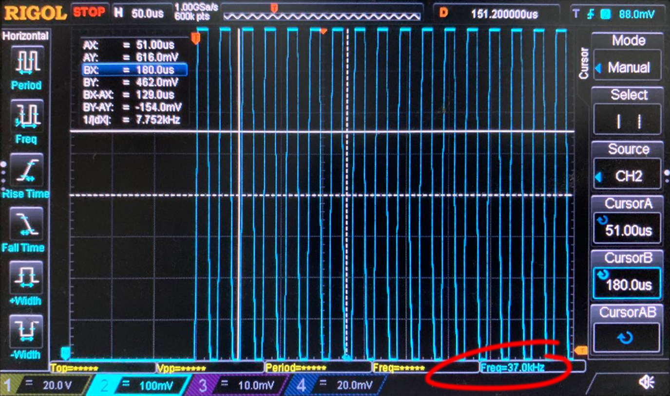 Oscilloscope capture of 37kHz signal