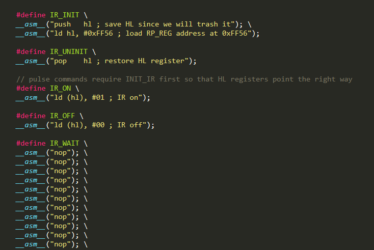 Code snippet of the IR assembly